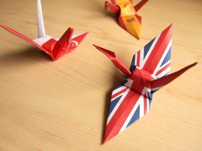 国旗柄折り鶴