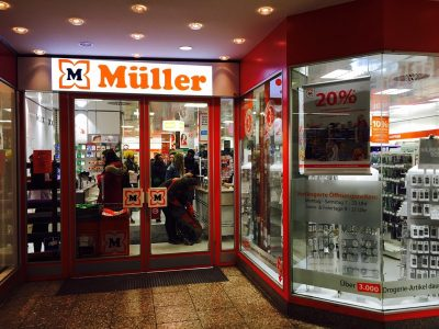 ミュンヘン駅の薬局ミュラー