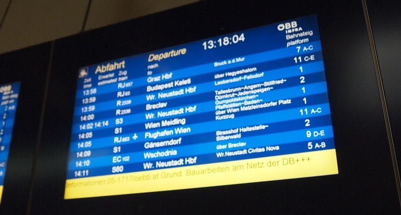 ウィーン中央駅案内板