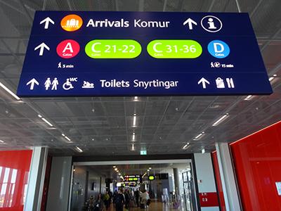 レイキャビクケフラヴィーク空港到着ゲート