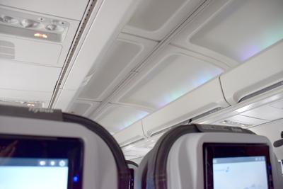 アイスランド航空機内のオーロラ風ライト