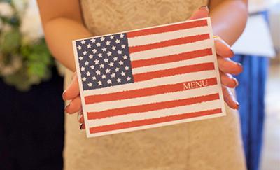 結婚式のメニュー国旗クジ付き