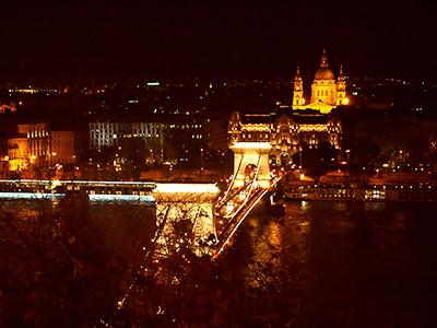 ブダ王宮から見たブダペストの夜景