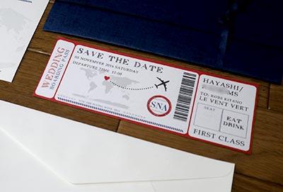 航空チケット風の結婚式招待状
