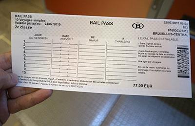 ベルギーの10回回数券Railpassレイル・パス