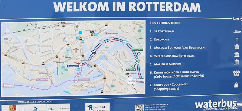 ロッテルダムの水上バスマップ