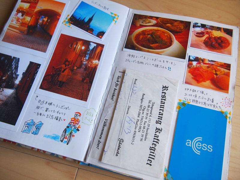 スウェーデン旅行のスクラップブック