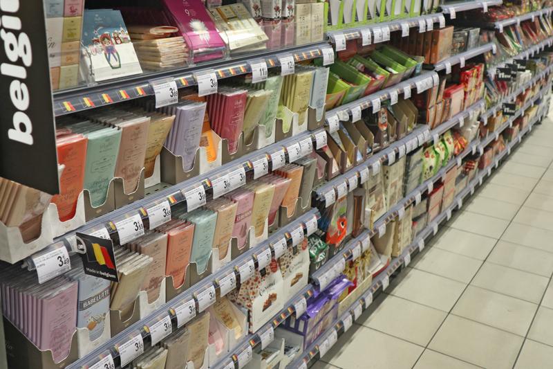 ブリュッセルのスーパーのチョコレート売り場